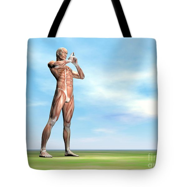 Male Musculature Standing On The Green Tote Bag by Elena Duvernay