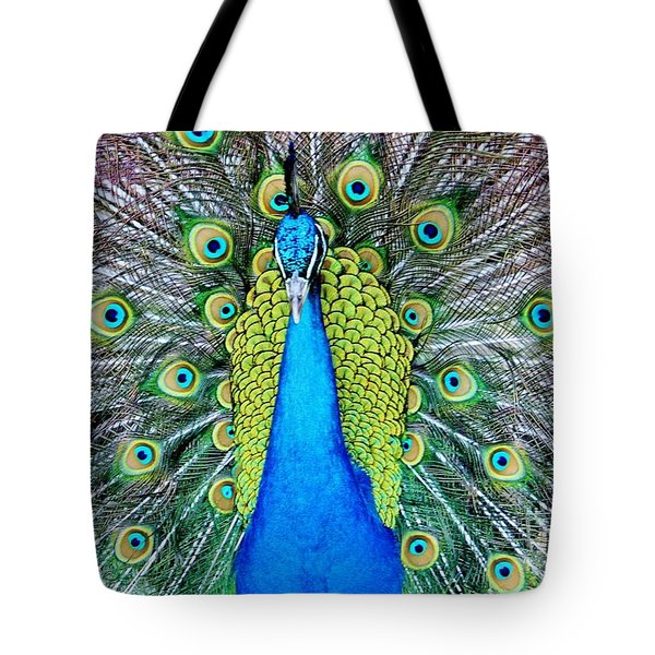 Male Peacock Tote Bag by Cynthia Guinn
