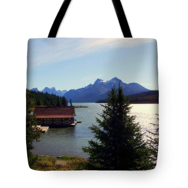 Maligne Lake Boathouse Tote Bag by Karen Wiles