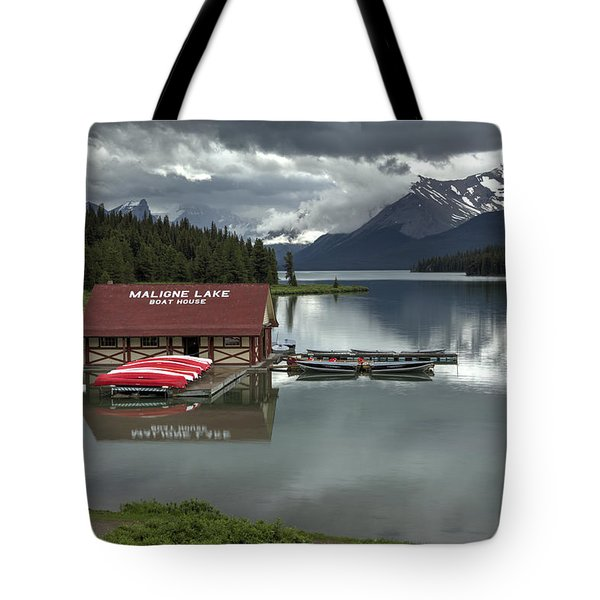 Maligne Lake Jasper Park Tote Bag by Diane Dugas