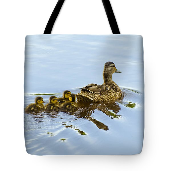 Mallard And Chicks  Tote Bag