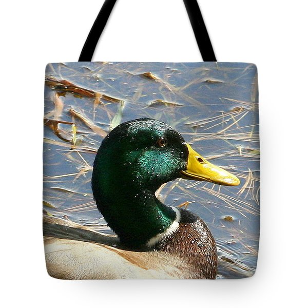 Mallard Duck Portrait Tote Bag by Neal Eslinger