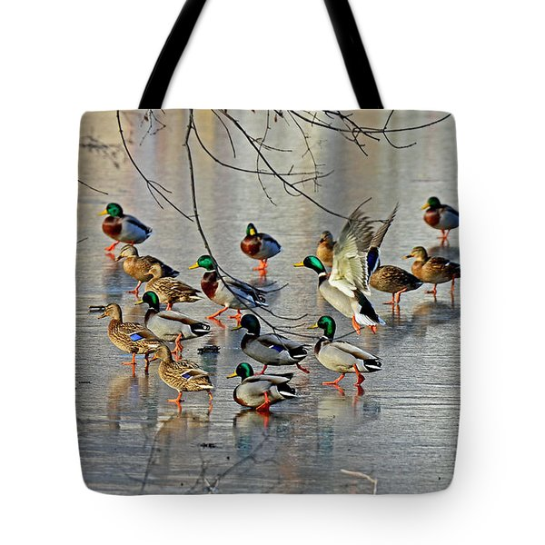 Mallards On A Frozen River Tote Bag