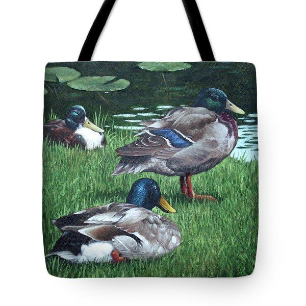 Mallards On River Bank Tote Bag