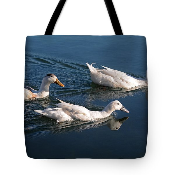 Tote Bag featuring the photograph Mama Duck Leads The Way by Susan Wiedmann