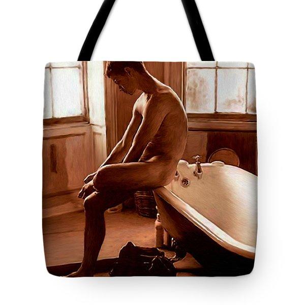 Man And Bath Tote Bag