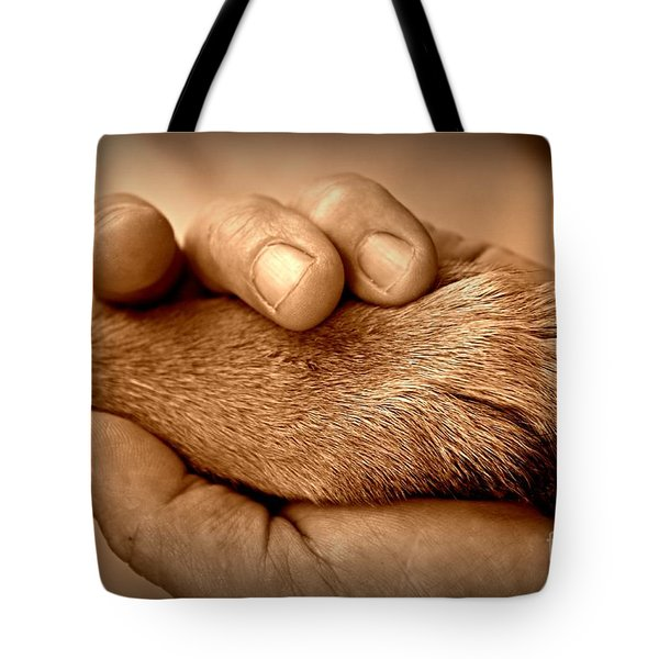 Man And Dog Tote Bag