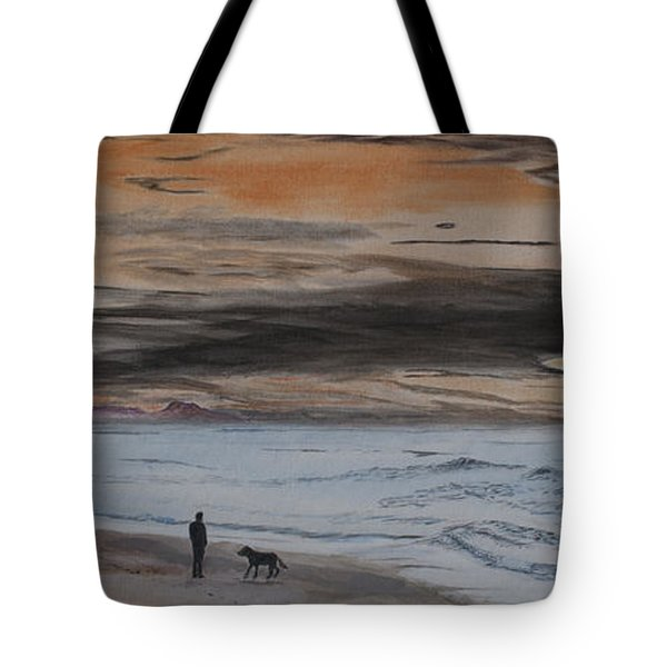 Tote Bag featuring the painting Man And Dog On The Beach by Ian Donley