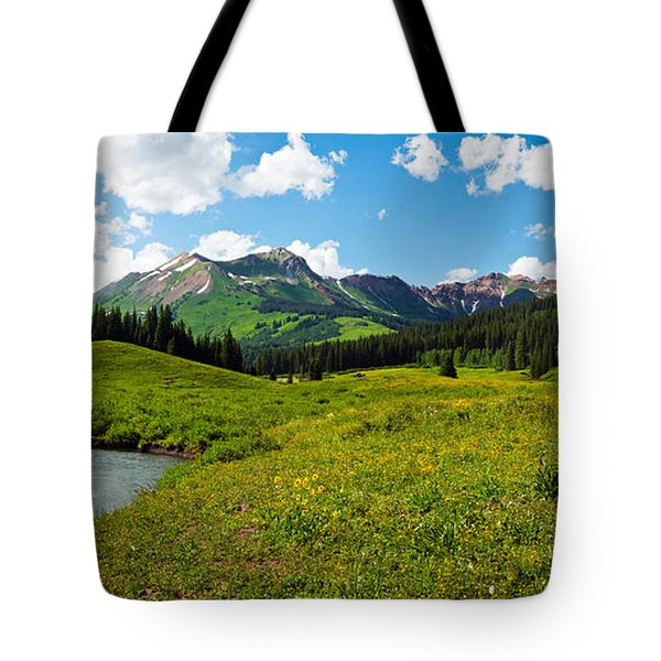 Man Camping Along Slate River, Crested Tote Bag