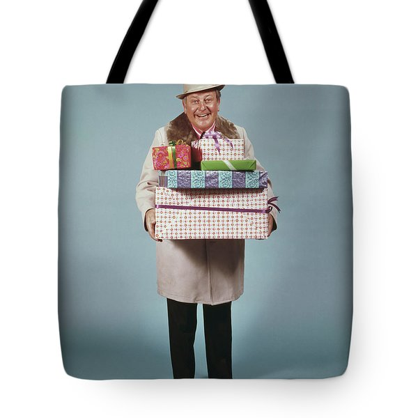 Man Carrying Gifts Hat Party 1970s Tote Bag