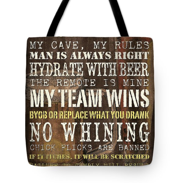 Man Cave Rules 2 Tote Bag by Debbie DeWitt