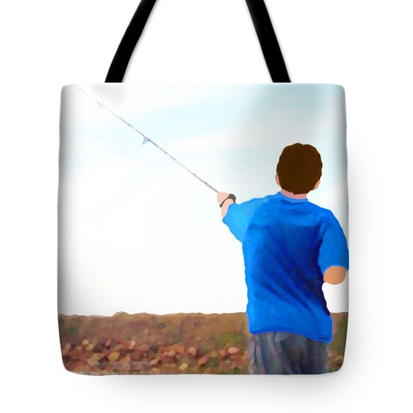 Man Fishing Tote Bag by Marian Cates