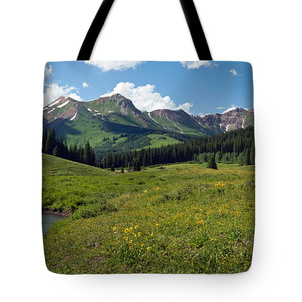 Man Fly-fishing In Slate River, Crested Tote Bag