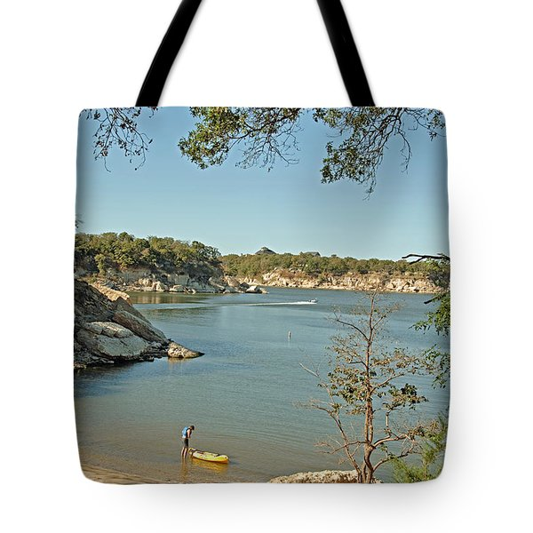 Man Going Kayaking Tote Bag