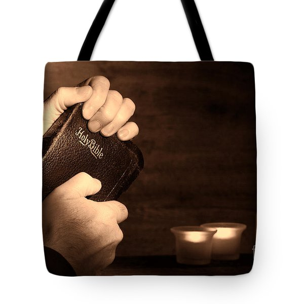 Man Hands And Bible Tote Bag
