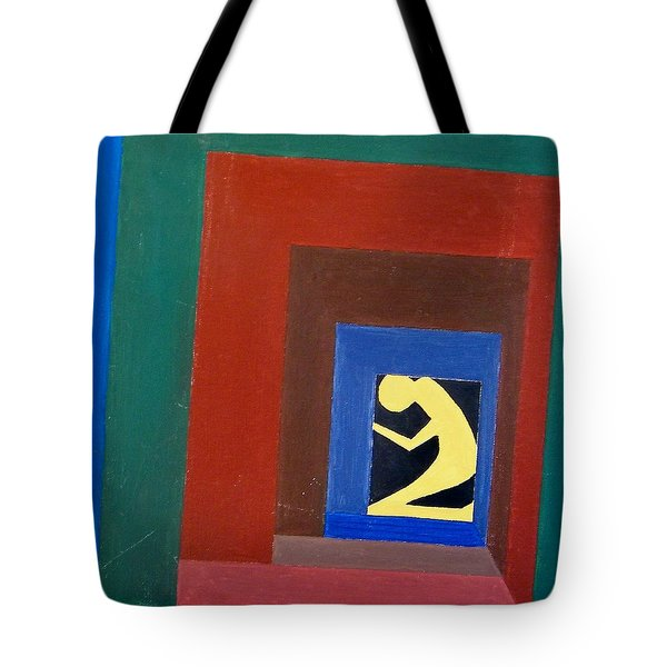 Tote Bag featuring the painting Man In A Box by Lenore Senior