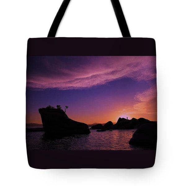 Tote Bag featuring the photograph Man In Sun At Bonsai Rock by Sean Sarsfield