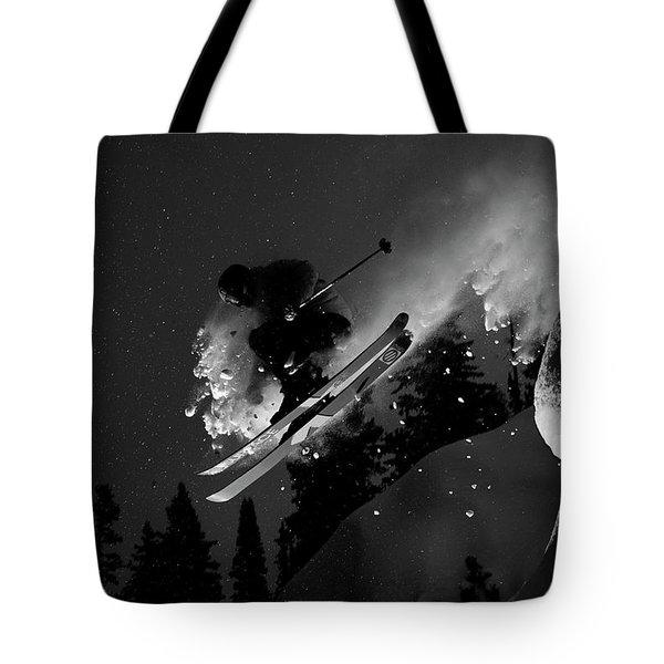 Man Jumping On Skis Tote Bag