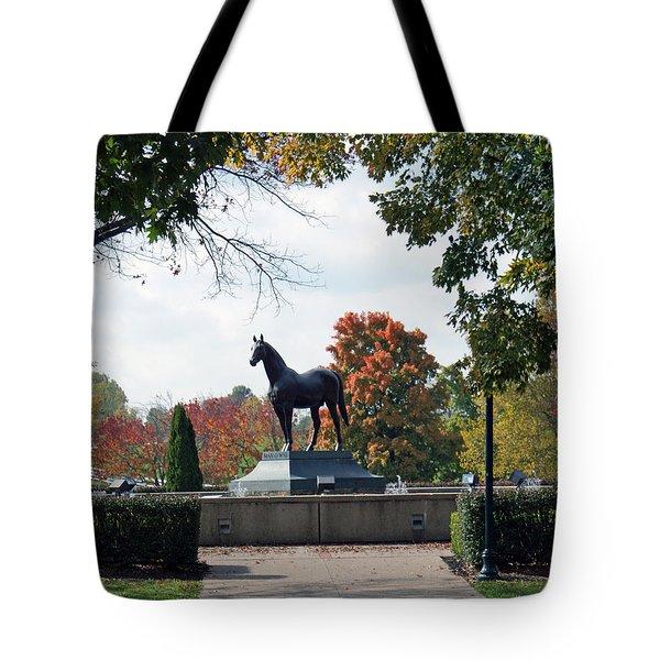 Man O' War Statue  Tote Bag by Roger Potts