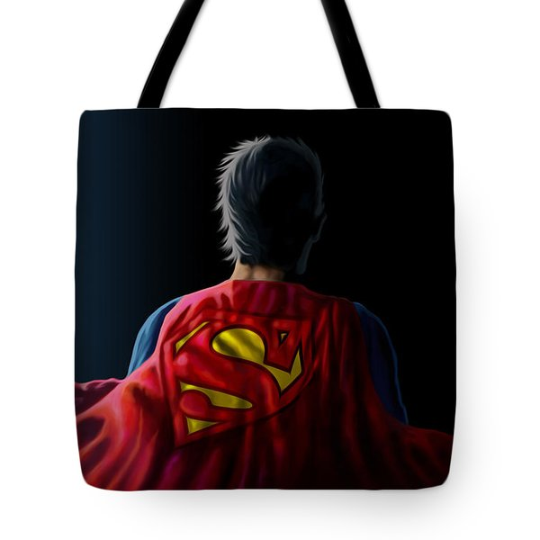 Tote Bag featuring the digital art Man Of Steel - Superman by Anthony Mwangi