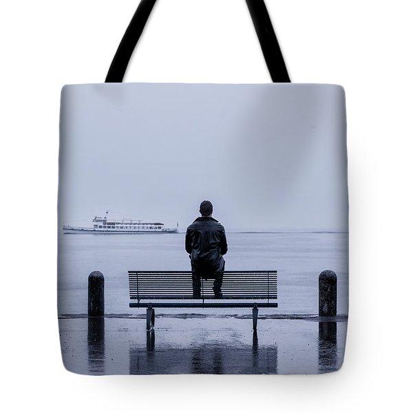 Man On Bench Tote Bag by Joana Kruse