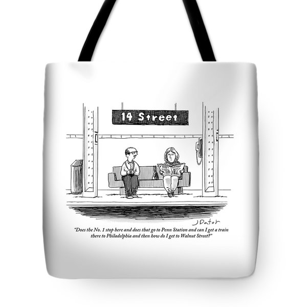 Man Pestering A Woman Who Is Sitting Next Tote Bag