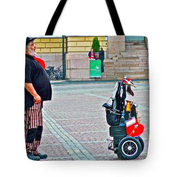 Man Singing In Senate Square In Helsinki-finland Tote Bag by Ruth Hager