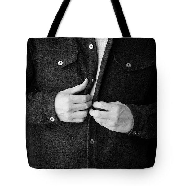 Man Unbuttoning His Shirt Tote Bag by Edward Fielding