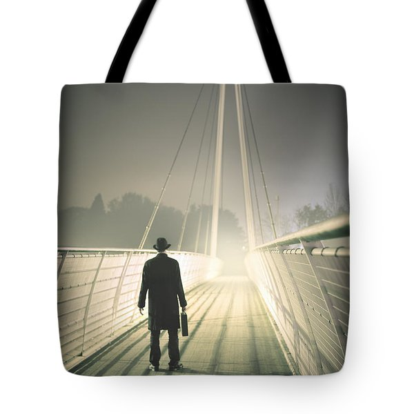 Tote Bag featuring the photograph Man With Case On Bridge by Lee Avison