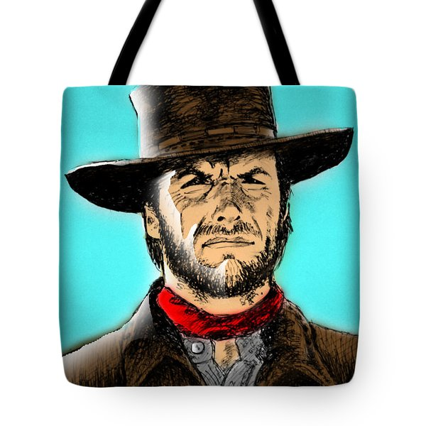 Tote Bag featuring the mixed media Clint Eastwood by Salman Ravish