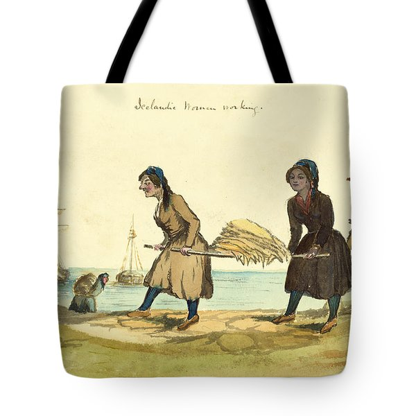 Man Working And Icelandic Women Working Circa 1862 Tote Bag by Aged Pixel