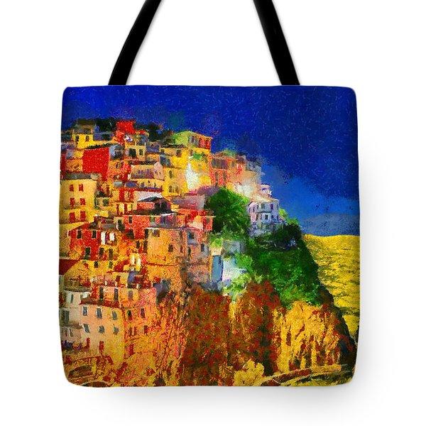 Manarola By Night Tote Bag by George Rossidis