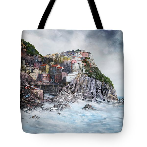 Tote Bag featuring the painting Manarola Italy by Jean Walker
