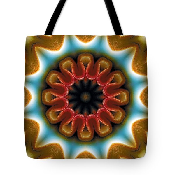 Tote Bag featuring the digital art Mandala 100 by Terry Reynoldson