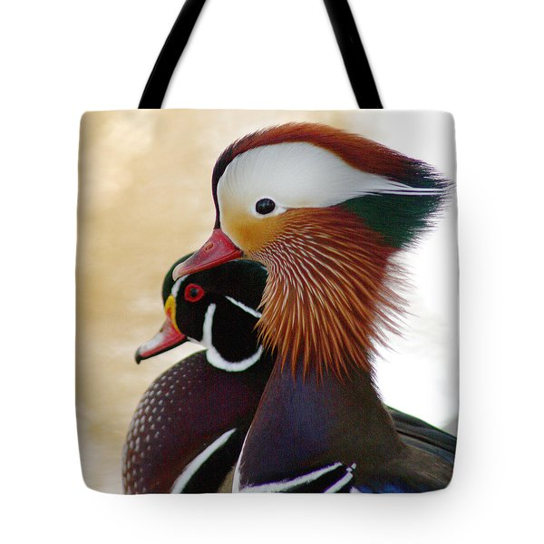 Tote Bag featuring the photograph Mandarin Duck And Wood Duck by Bob and Jan Shriner