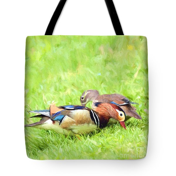 Mandarin Duck Couple Tote Bag