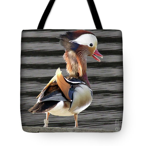 Mandarin Duck Tote Bag by Donna Brown