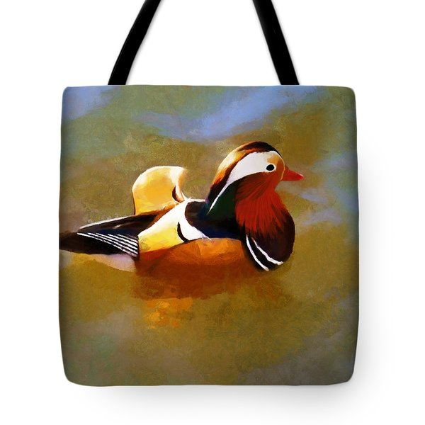 Mandarin Duck Flapping In The Water Tote Bag