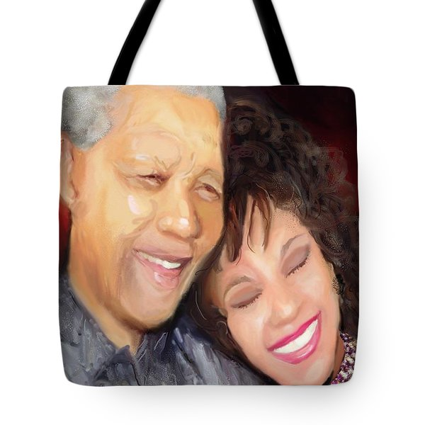 Tote Bag featuring the painting Mandela And Whitney by Vannetta Ferguson