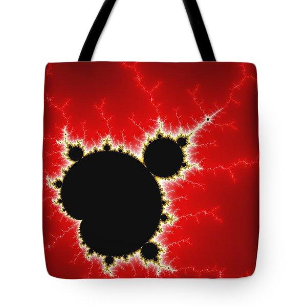 Mandelbrot Fractal Art Black White And Bold Red Tote Bag by Matthias Hauser