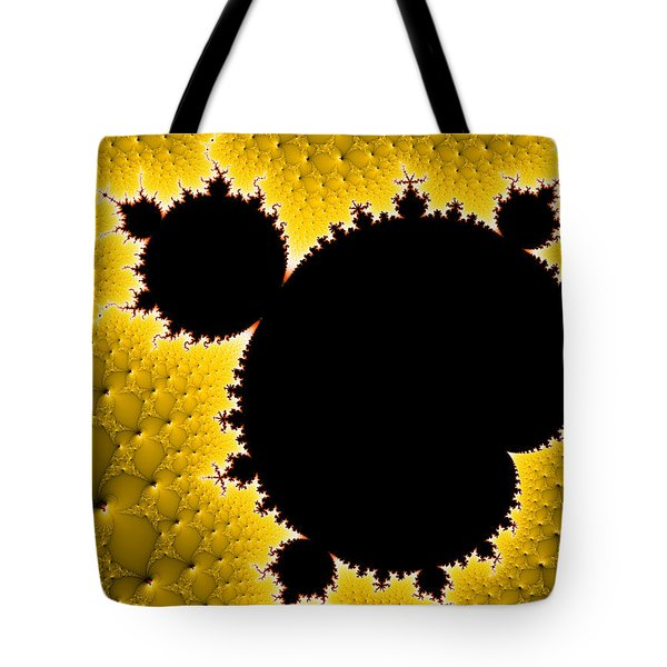 Mandelbrot Set Black And Yellow Fractal Art Tote Bag