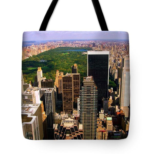 Manhattan And Central Park Tote Bag