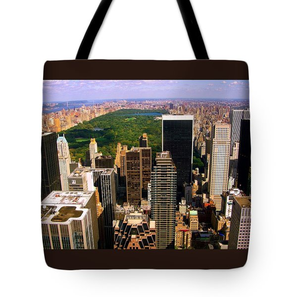 Manhattan And Central Park Tote Bag by Monique Wegmueller