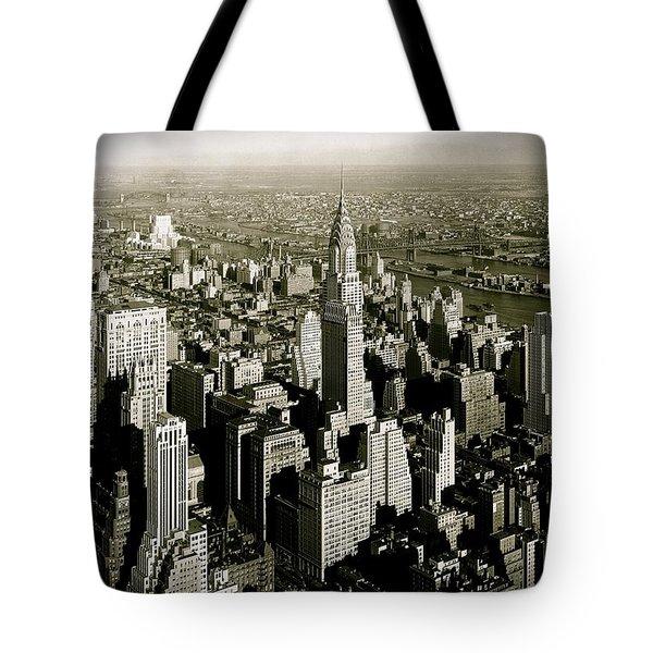 Manhattan And Chrysler Building II Tote Bag