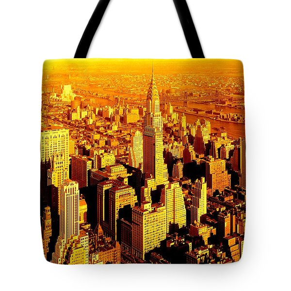 Manhattan And Chrysler Building Tote Bag