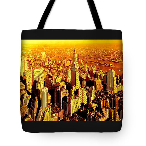 Manhattan And Chrysler Building Tote Bag