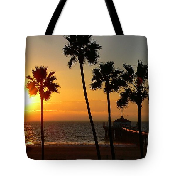 Manhattan Beach Pier And Palms At Sunset Tote Bag