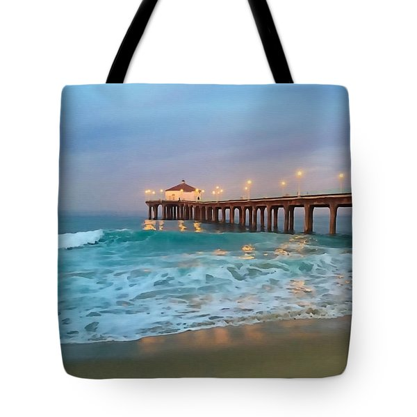 Tote Bag featuring the photograph Manhattan Beach Reflections by Art Block Collections