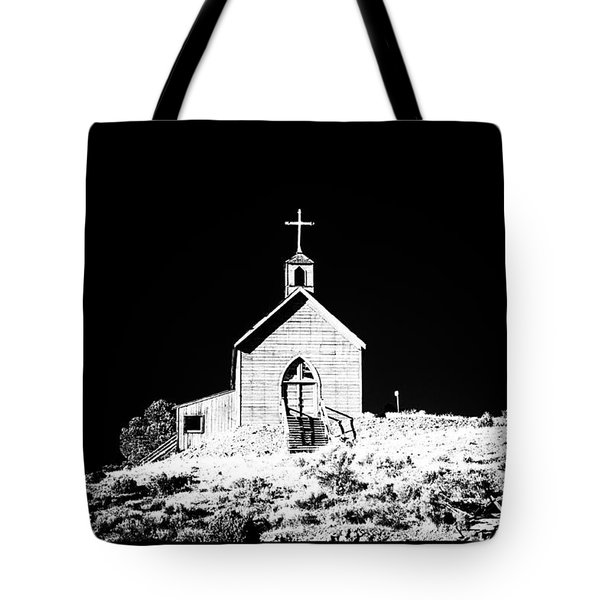 Manhattan Church High Contrast Tote Bag by Cat Connor