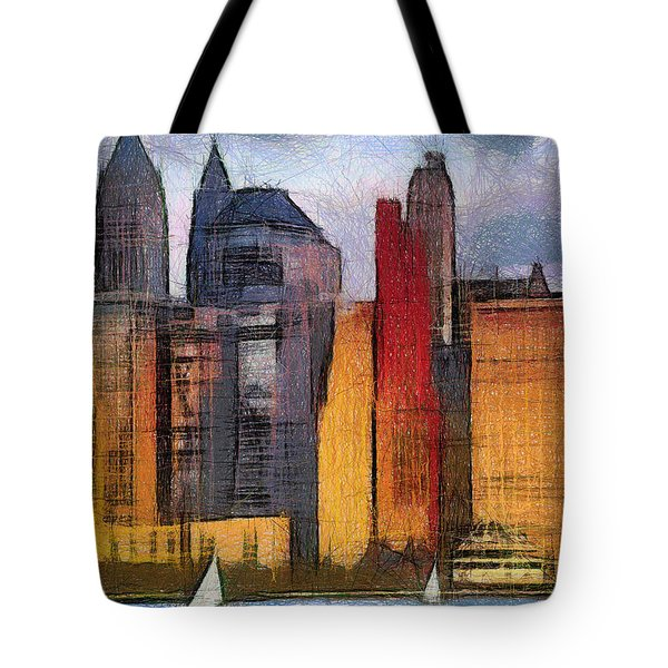 Beautiful City Manhattan Digital Painting Tote Bag by Georgi Dimitrov